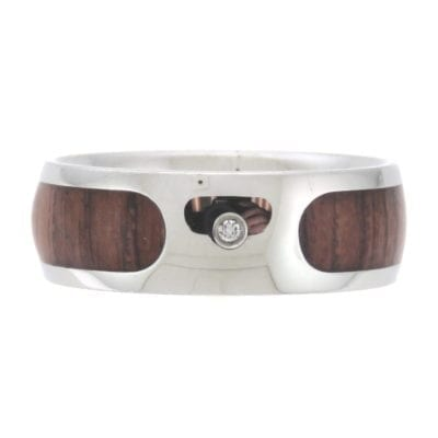 Men's Stainless Steel and Wood Comfort Fit Wedding Band