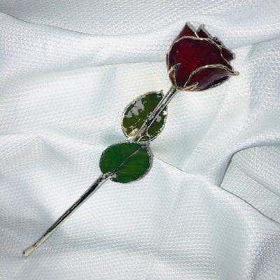 Burgandy  Rose With Silver Trim