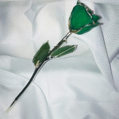Green Rose with Silver Trim