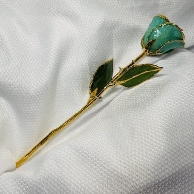 Green Rose with Green Sparkles Gold Trim Rose